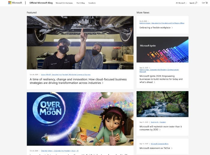 Blog aziendale - esempio Microsoft