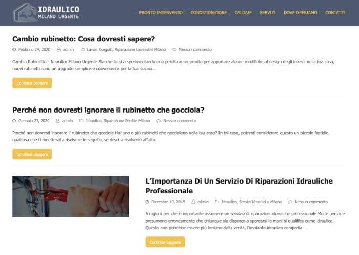 Blog aziendale - esempio idraulico