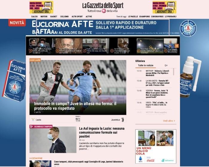 Blog di attualità - Esempio gazzetta.it