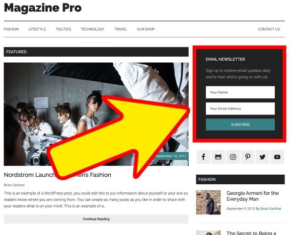 Squeeze page in blog template