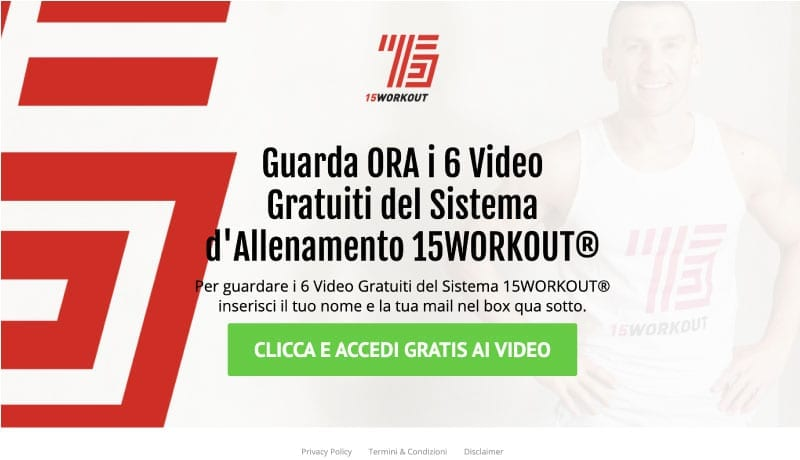 Squeeze page esempio fitness